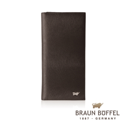 【總代理BRAUN BUFFEL德國小金牛】提貝里烏斯-II 17卡長夾-黑檀木色/BF348