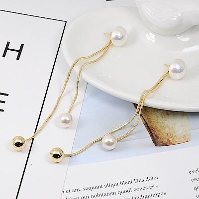 Prisme美國時尚飾品 簡約珍珠 垂墜金色耳環 耳針式