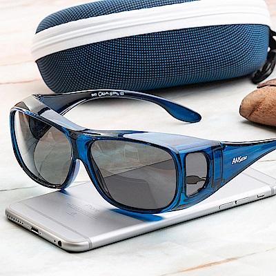 尚佰家 寶麗萊鏡片偏光直載式太陽套鏡-透明藍黑鏡(9415)
