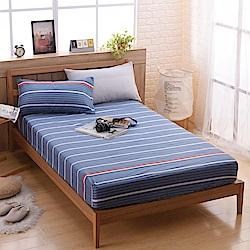 喬曼帝Jumendi 台灣製活性柔絲絨單人二件式床包組-藍色生活