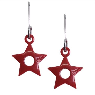 DIOR 可愛星星造型穿式掛勾耳環(紅)