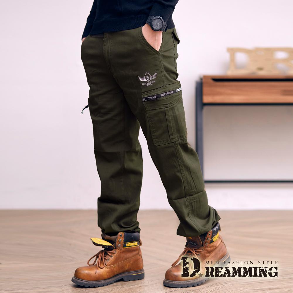 Dreamming 透氣素面翅膀多口袋休閒工作長褲-軍綠