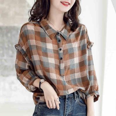 初色  復古格子寬鬆襯衫-咖啡色-(M-2XL可選)