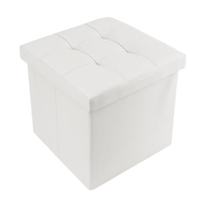樂嫚妮 仿皮革收納凳/椅凳/收納箱/換季-38X38X38cm-白
