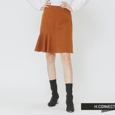 H:CONNECT 韓國品牌 女裝 -百摺拼接毛呢短裙-棕(快)
