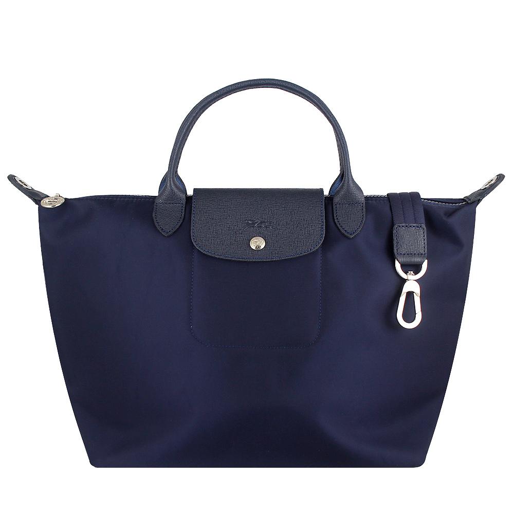 Longchamp Le pliage Neo 厚質尼龍布短帶水餃包/斜背包(海軍藍色/中