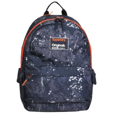 SUPERDRY 極度乾燥 MARBLE CAMOUFLAGE 潑漆塗紋後背包(黑灰底)