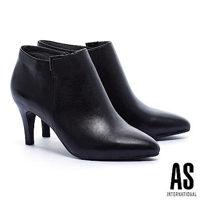 踝靴 AS 簡約質感純色全真皮高跟尖頭踝靴-黑