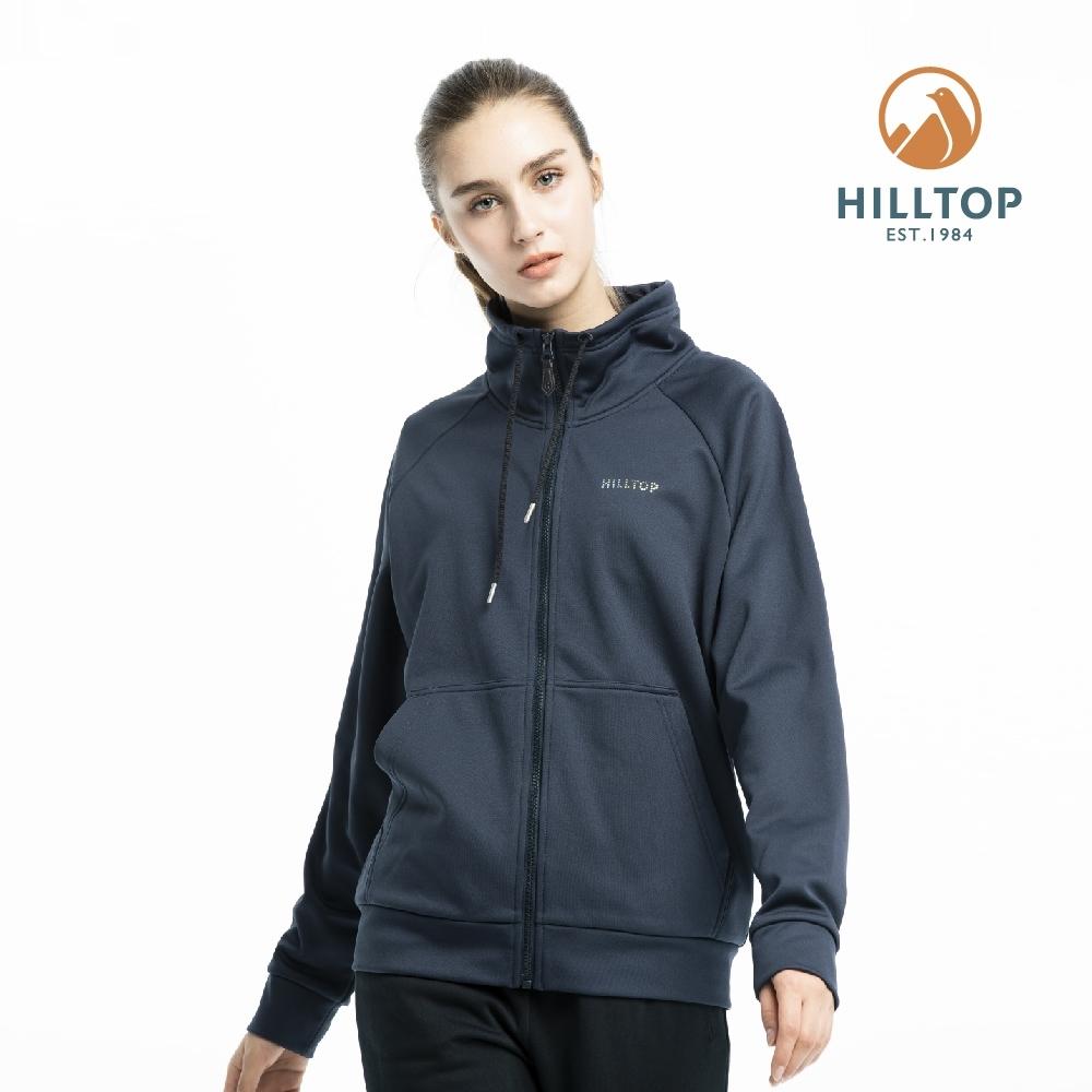 【hilltop山頂鳥】女款保暖立領刷毛外套PH22XFV8ECE2藍夜
