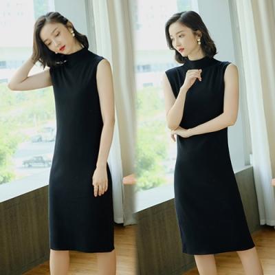 【韓國K.W.】(預購)時尚元素簡單有型無袖連身簡約洋裝-3色