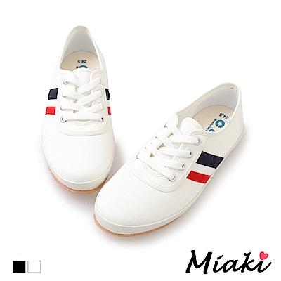 Miaki-帆布鞋韓系學院平底休閒鞋-白