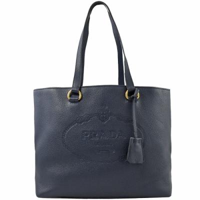 PRADA 烙印大logo牛皮肩背托特包(深藍)
