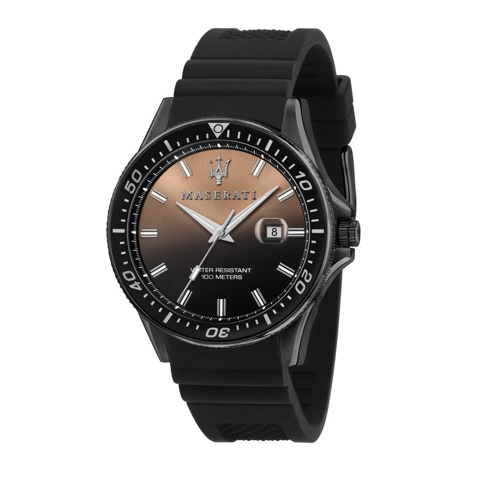 MASERATI 瑪莎拉蒂 經典黑金矽膠錶帶腕錶44mm(R8851140001)