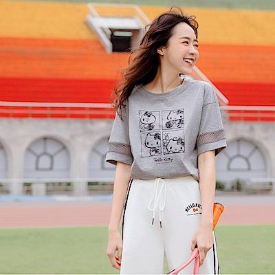運動KITTY純棉拼接網布上衣-OB大尺碼