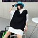 個性寬鬆黑白假二件襯衫洋裝-F-CLORI product thumbnail 1