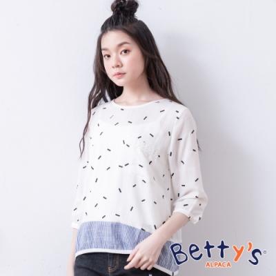 betty's貝蒂思 微透膚拼接棉麻上衣(白色