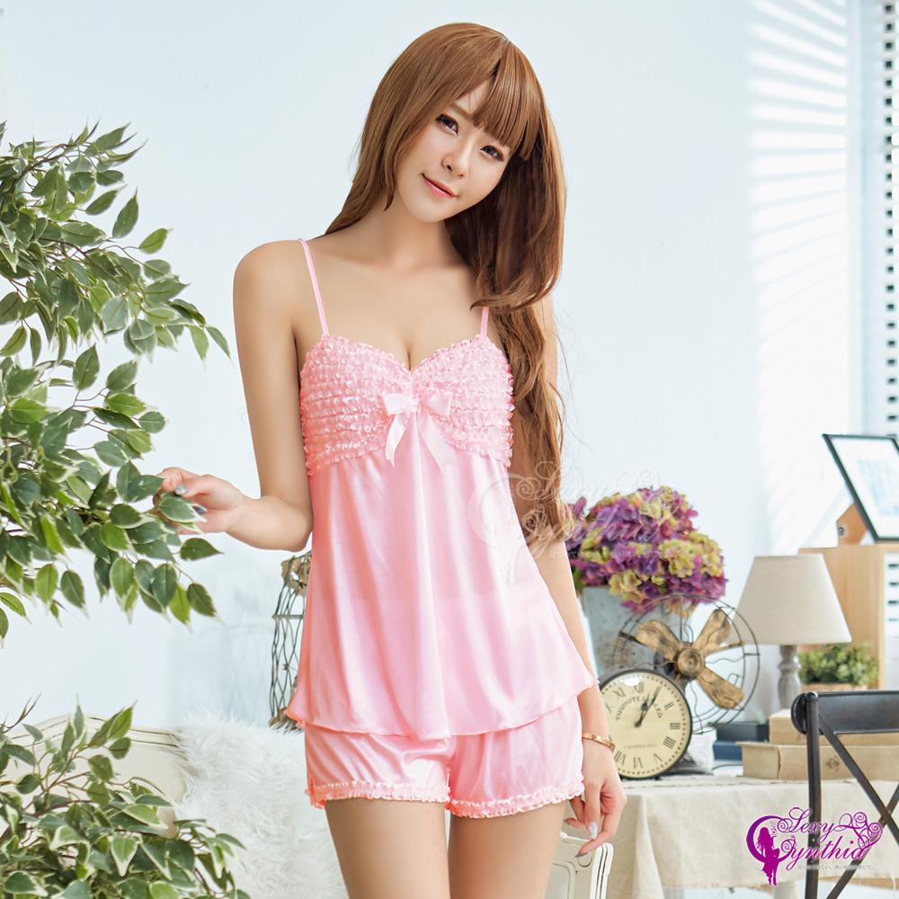 Sexy Cynthia性感睡衣 甜美粉紅柔緞居家睡衣短褲二件組-粉F