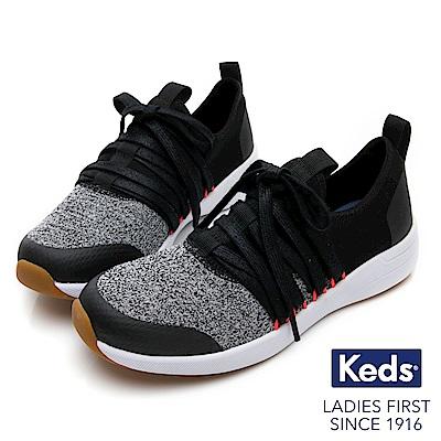 Keds Studio 完美包覆綁帶輕量休閒鞋-黑