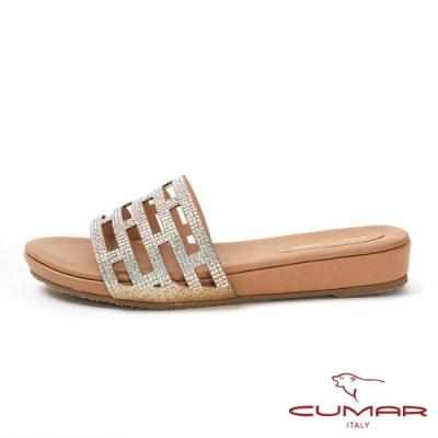 CUMAR情迷哈瓦那 - 排鑽鏤空楔型平底拖涼鞋-金蔥