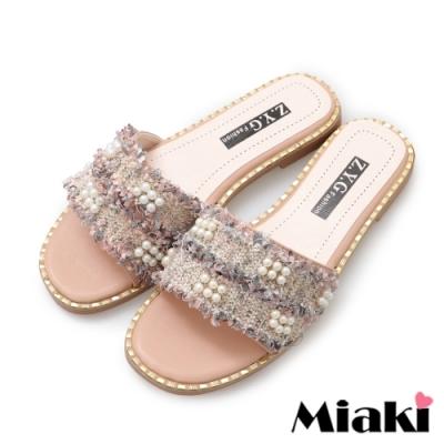 Miaki-拖鞋韓系金屬珍珠涼拖-粉