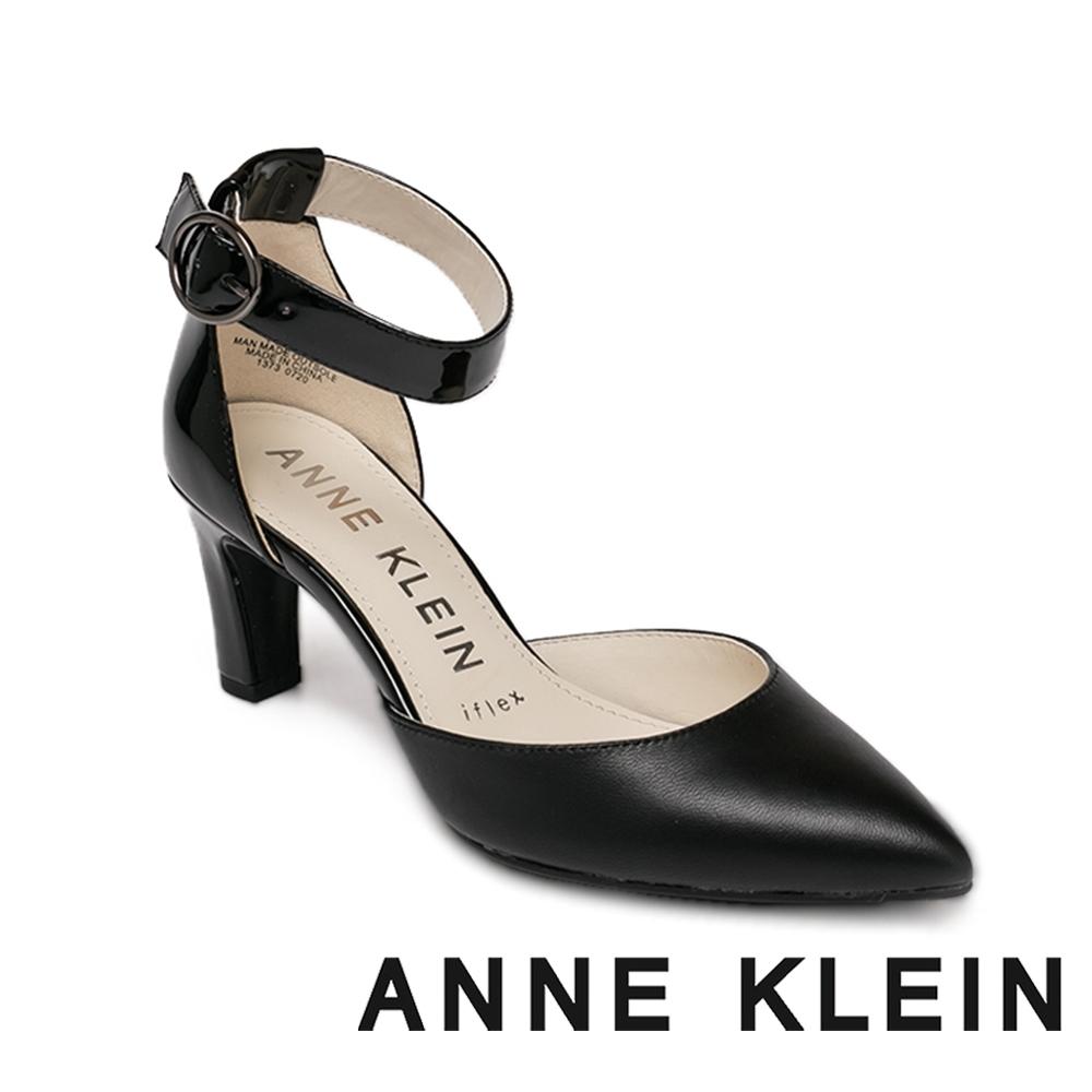 ANNE KLEIN-KNELL 經典素面質感繫帶跟鞋-黑色