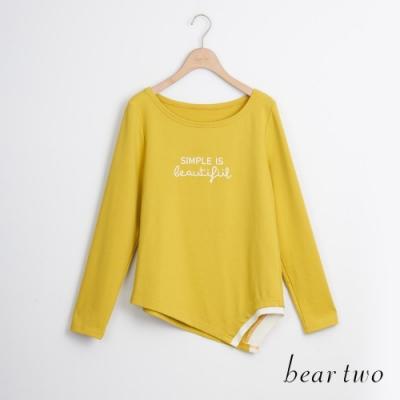 bear two- 休閒時尚圓領長袖上衣 - 黃