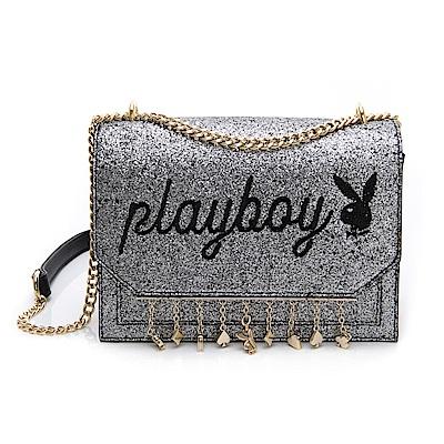 PLAYBOY- 鏈帶斜背包 星空撲克系列-灰色