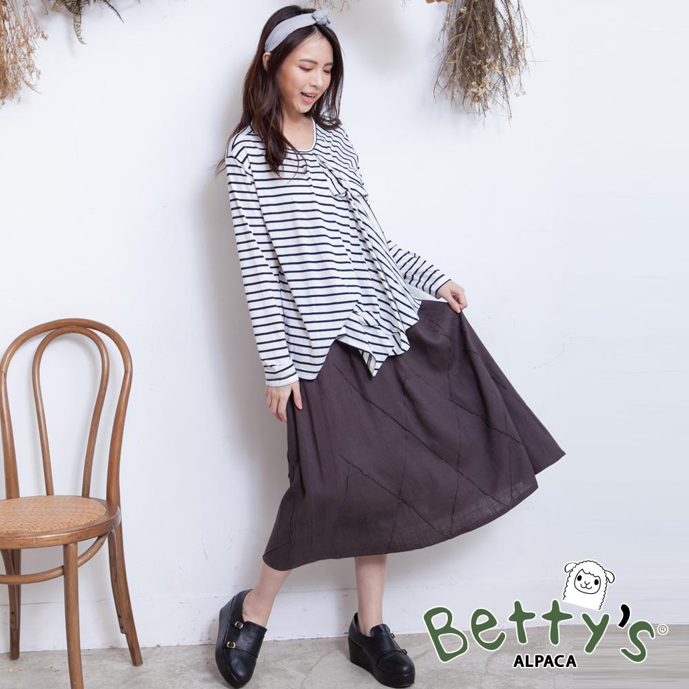 betty's貝蒂思 腰間鬆緊棉麻菱格紋長裙(深灰) @ Y!購物