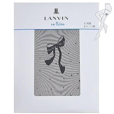 LANVIN en bleu 經典左大腿牌蝴蝶字母LOGO細網花紋襪(黑色)