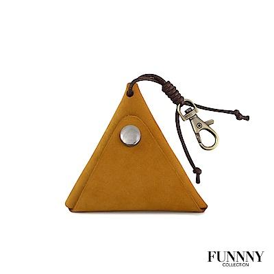 FUNNNY 真皮實用三角型 零錢/鑰匙 收納包 中居 瑛 姜黃 (快)