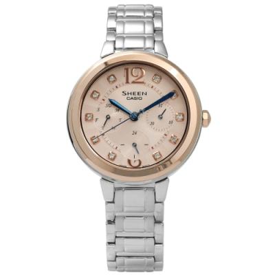 SHEEN CASIO 卡西歐典雅情人施華洛世奇不鏽鋼手錶-粉橘x玫瑰金框x銀色/34mm