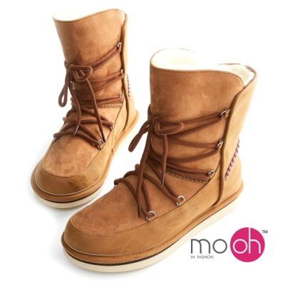 mo.oh圓頭綁帶拼接中筒厚底雪靴-棕色