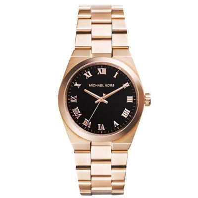 Michael Kors 璀璨經典大錶盤腕錶-黑X玫瑰金