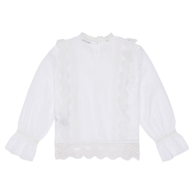 GUESS-女裝-素色蕾絲拼接造型上衣-白
