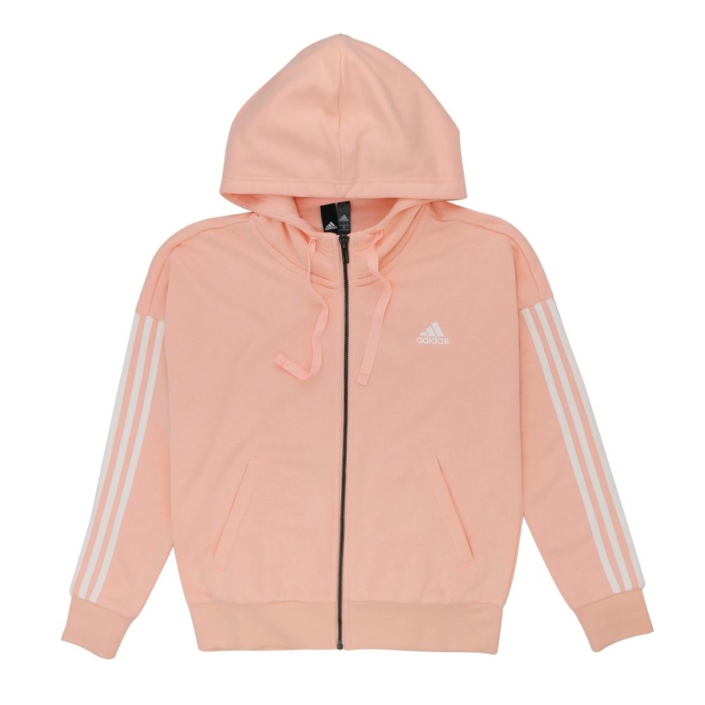 adidas ESS 3S FZ HD 女連帽外套 粉