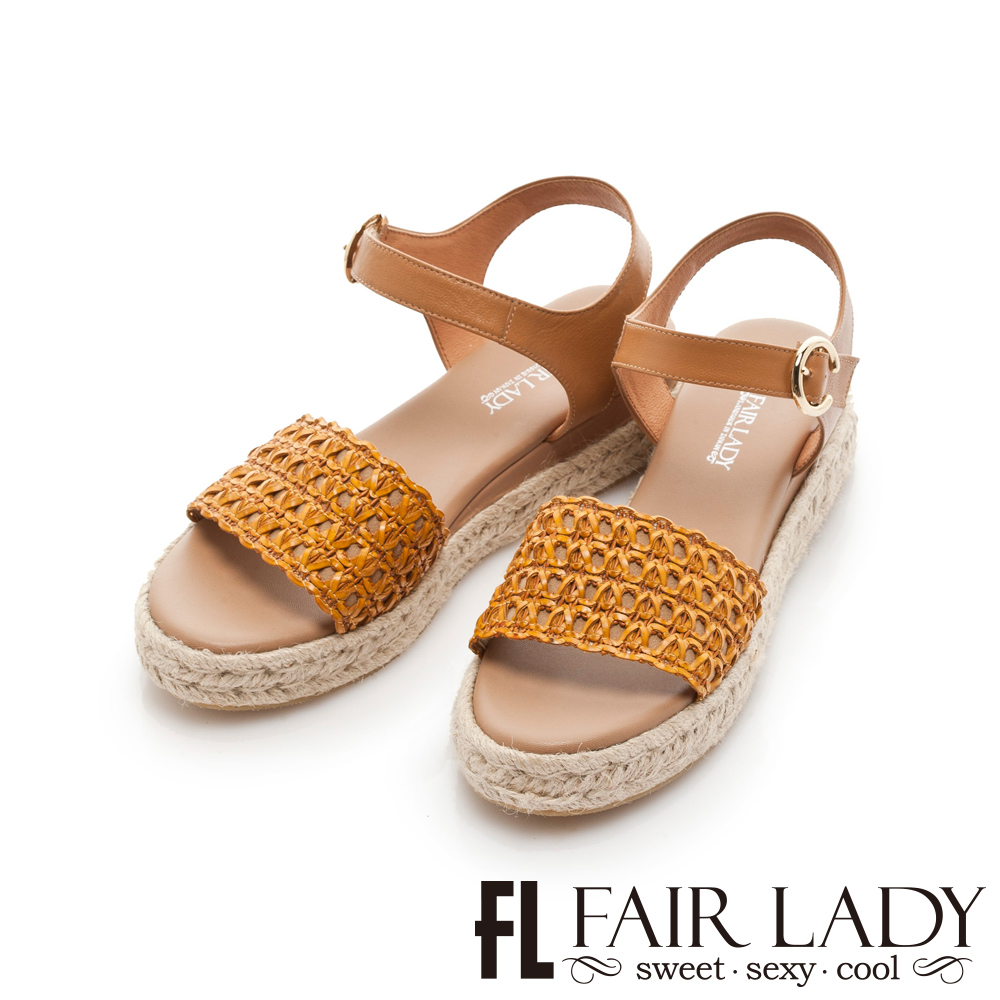 Fair Lady 編織皮革拼接草編厚底涼鞋 黃