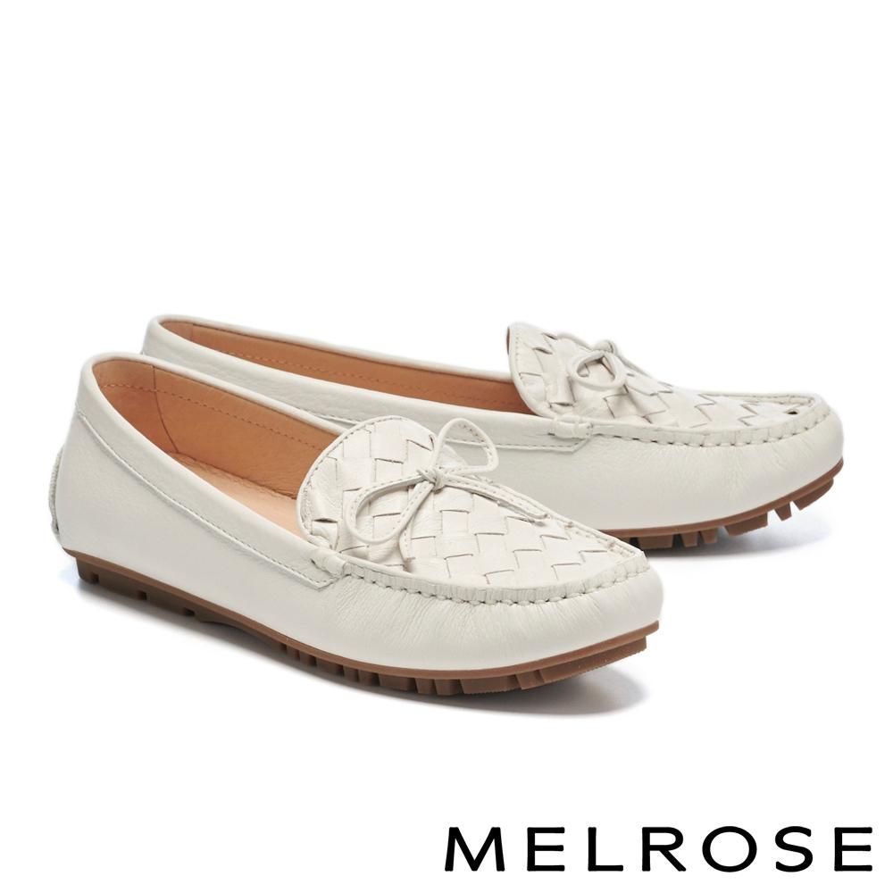 平底鞋 MELROSE 純色質感編織蝴蝶結全真皮樂福平底鞋-白
