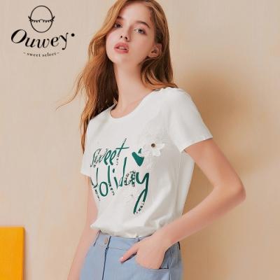 OUWEY歐薇 字母膠印蕾絲貼花高含棉上衣(白)3212061206
