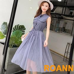 無袖長款上衣+透膚網紗裙兩件套 (共二色)-ROANN