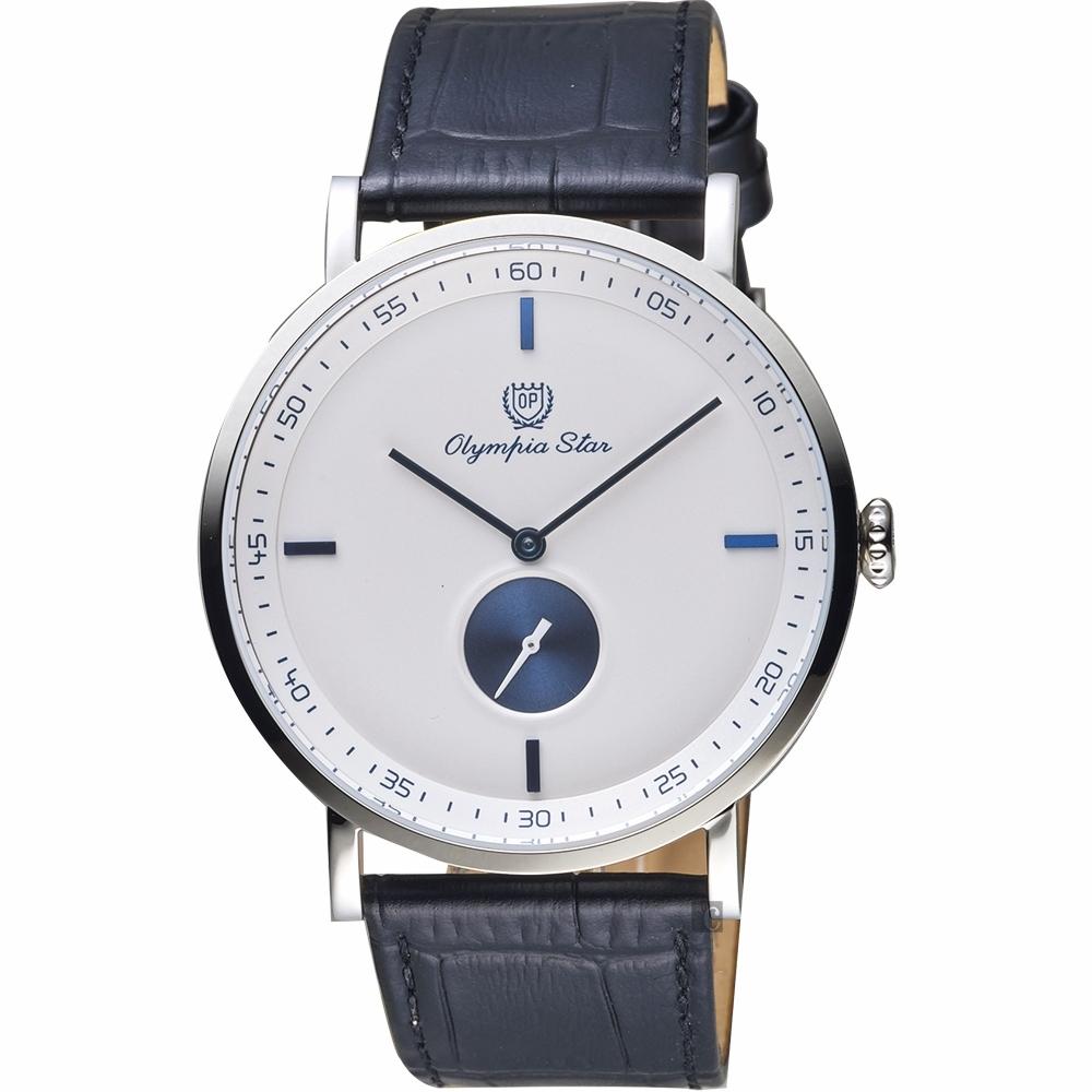 Olympia Star 奧林比亞之星 簡約小秒針石英手錶-42mm 58089GS皮