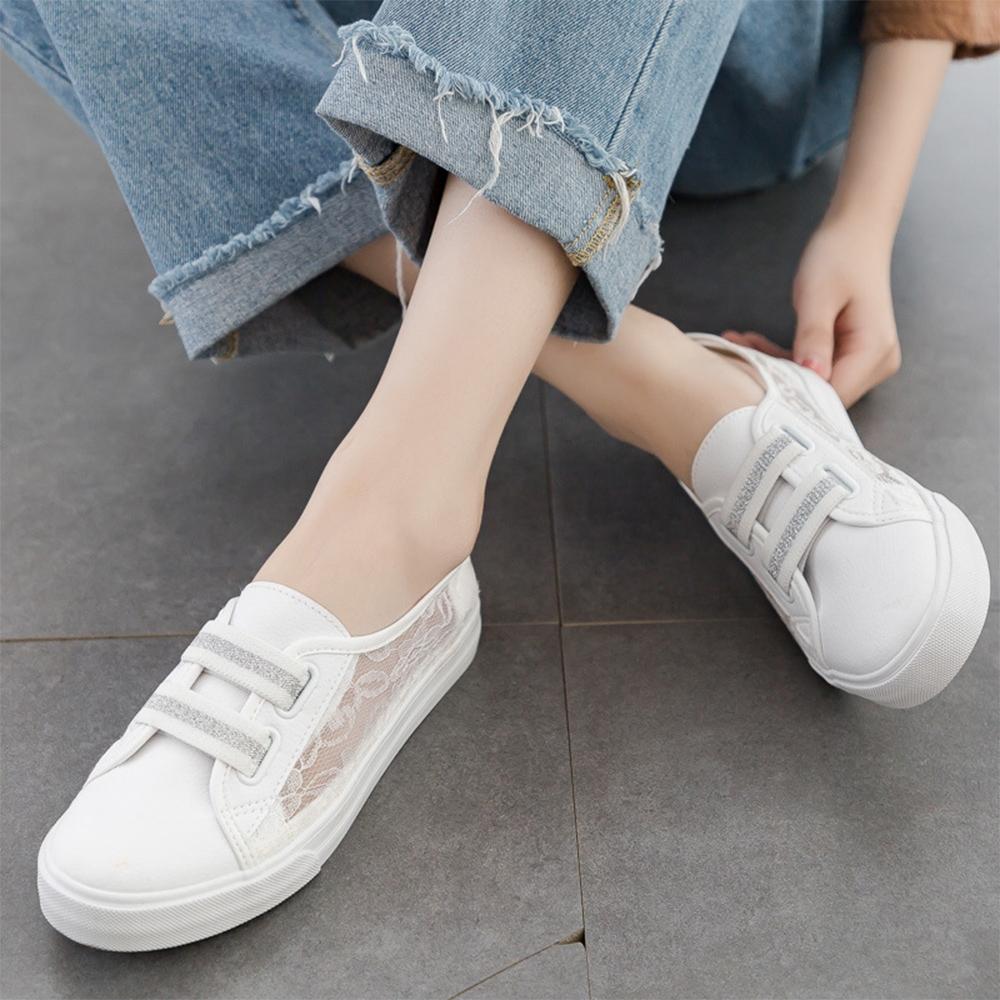 LN  現+預 仙女風蕾絲簍空小白鞋(休閒鞋/平板鞋) (白銀色)