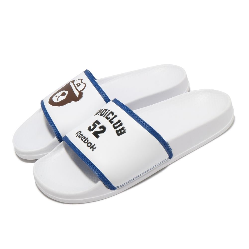 Reebok 拖鞋 Classic Slide 套腳 男女鞋 基本款 簡約 夏日 輕便 情侶穿搭 白 藍 GZ8778