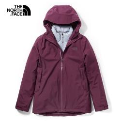 The North Face北面女款紫紅色防水保暖戶外三合一外套|46I7SSJ