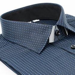 金‧安德森 黑底黑內領方點窄版長袖襯衫fast