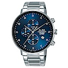 ALBA 雅柏 主張自我原創計時手錶(AM3667X1)-藍/44mm