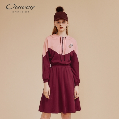 OUWEY歐薇 撞色拼接連帽洋裝(粉)
