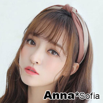 【2件7折】AnnaSofia 雙色交叉轉璇結 韓式寬髮箍(豆沙紅色)