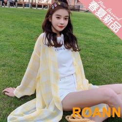 百搭款透膚格紋長款防曬外套 (共三色)-ROANN