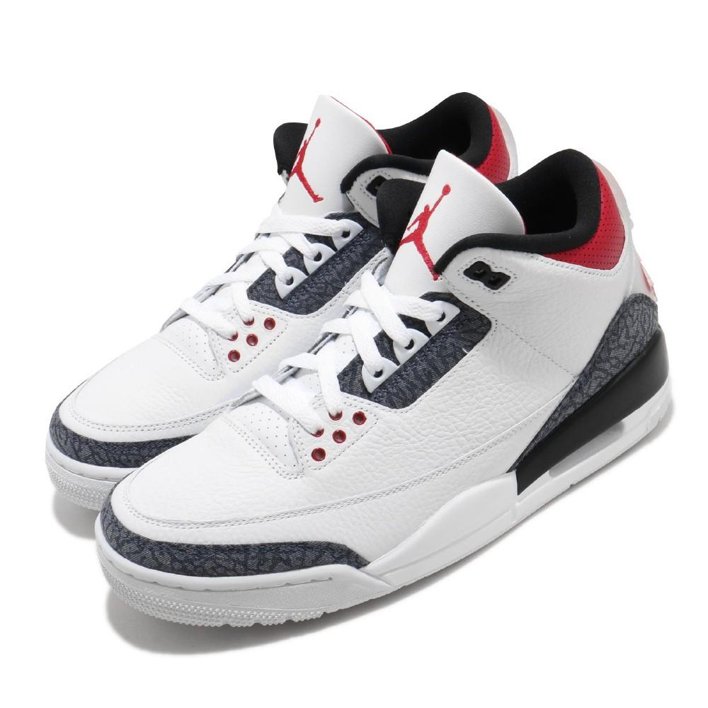 Nike 籃球鞋 Air Jordan 3代 SE 男鞋 Denim Fire Red 火焰 飛人喬丹 白 灰  紅 CZ6431100
