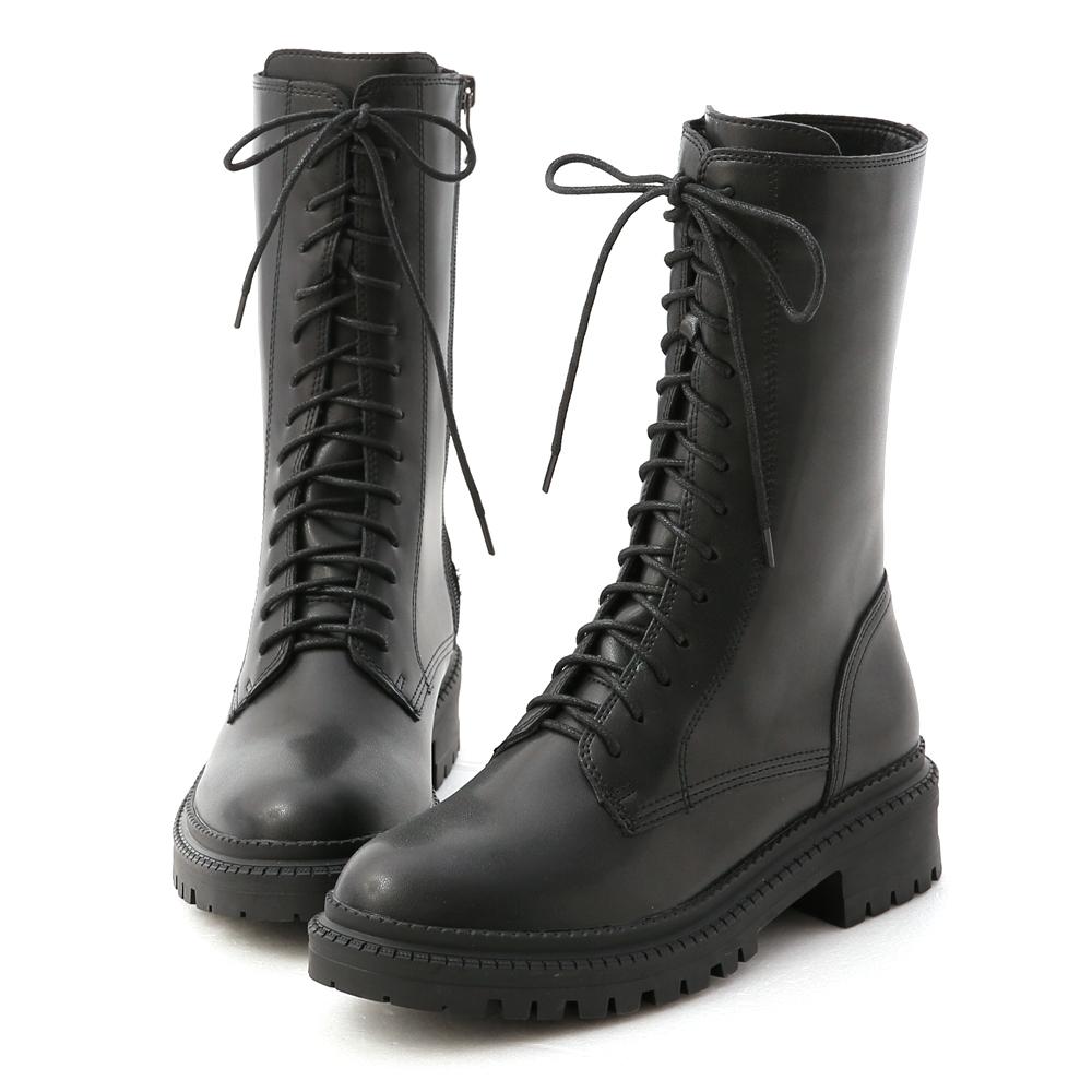 D+AF 黑色風潮.厚底綁帶中筒馬汀靴*黑